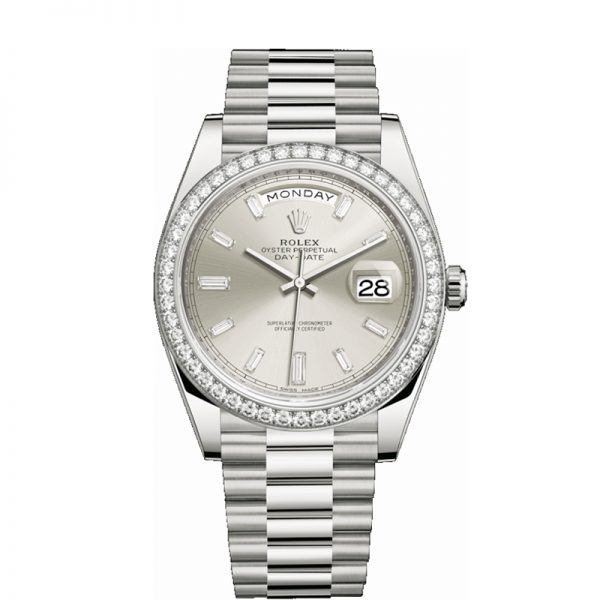 Rolex Day-Date 228349RBR Relógio Automático Masculino Silver Dial 40mm